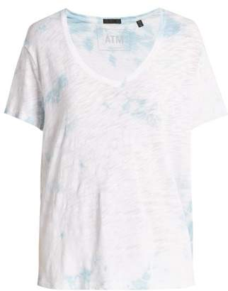 Atm - Boyfriend V Neck Cotton T Shirt - Womens - Blue White