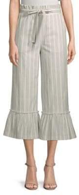 ENGLISH FACTORY Striped Ruffled Pants