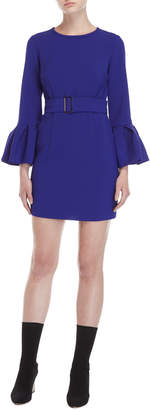 P.A.R.O.S.H. Purple Belted Trumpet Sleeve Dress