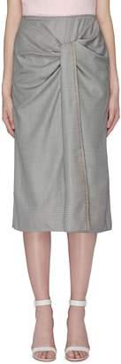 Roland Mouret 'Aura' gathered knot front check virgin wool-silk skirt