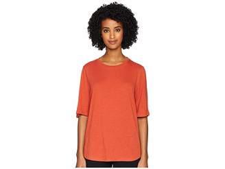 Eileen Fisher Slubby Organic Cotton Jersey Round Neck Elbow Sleeve Top