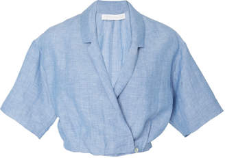 Blend of America Christine Alcalay Linen wrap top