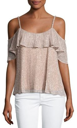 Ella Moss Cerine Cold-Shoulder Ruffle Top, Pink Champagne $148 thestylecure.com