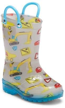 LILLY OF NEW YORK Construction Print Light-Up Waterproof Rain Boot (Toddler & Little Kid)