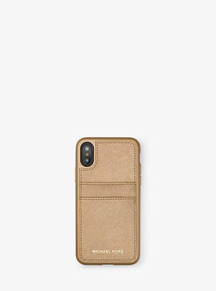 Michael Kors Metallic Saffiano Leather Phone Case For Iphone X