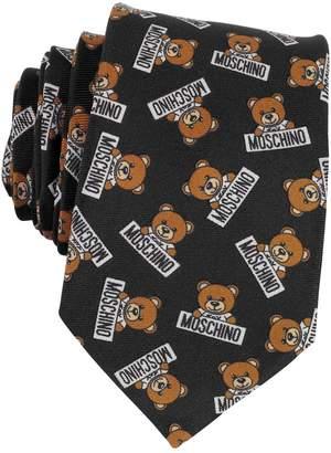 Moschino Teddy Bear All Over Printed Silk Narrow Tie
