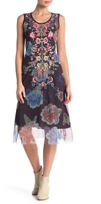 Johnny Was Floral Embroidered Mesh Midi Dress