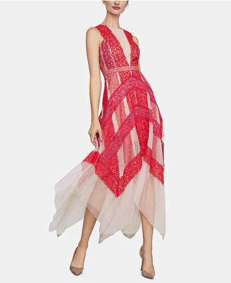 BCBGMAXAZRIA Lace & Tulle Illusion Midi Dress