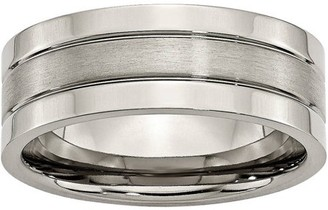 Primal Steel Titanium Grooved 8mm Brushed and Polished Band
