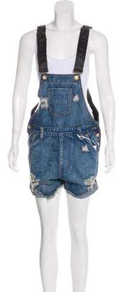 One Teaspoon Distressed Overall Shorts