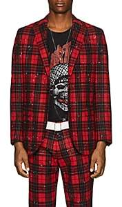 R 13 Men's Plaid Wool-Blend Two-Button Sportcoat-Red