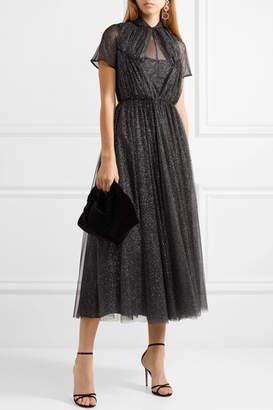 Emilia Wickstead Gabriel Ruched Glittered Tulle Dress - Black