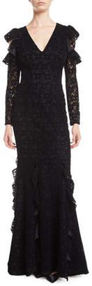Zac Posen Carola Lace Gown w/ Cold Shoulders