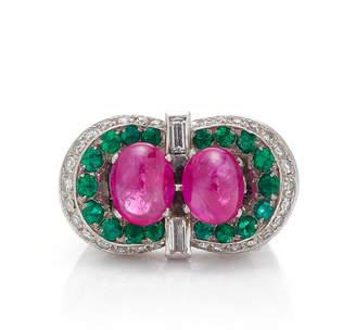 Eleuteri 18K Cabochon Ruby And Emerald Ring
