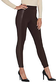Halston H by Regular Ponte Leggings with FauxLeather Details