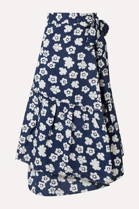 Apiece Apart Iberia Floral-print Cotton And Linen-blend Wrap Skirt - Navy
