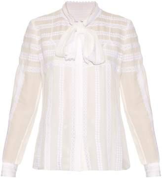 Oscar de la Renta Long-sleeved lace-trimmed silk blouse