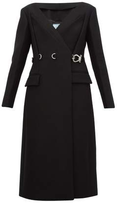 Prada Carabiner Waist Double Breasted Wool Coat - Womens - Black