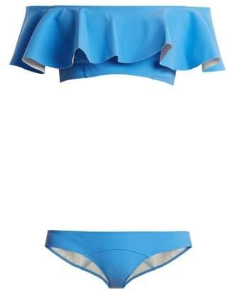 Lisa Marie Fernandez Mira Ruffled Bonded Bikini - Womens - Blue