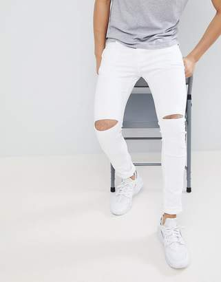 Pull&Bear Super Skinny Jeans With Knee Rips In White