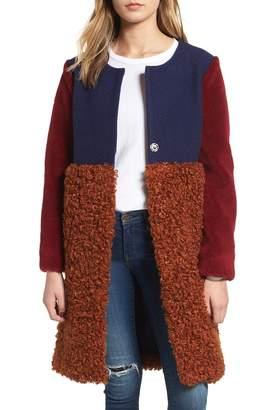 Endless Rose Colorblock Faux Shearling Coat