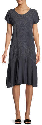 Johnny Was Vice Eyelet-Embroidered Drop-Waist Dress