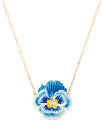 Alison Lou 14K Diamond Pansy Pendant Necklace