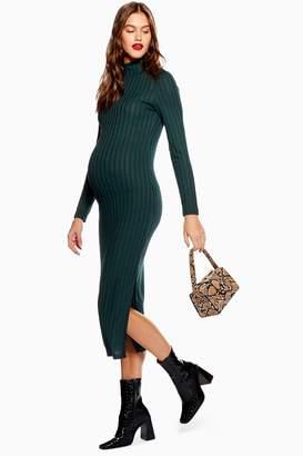 61b3bf73372 Topshop Womens   Maternity High Neck Ribbed Midi Dress - Green