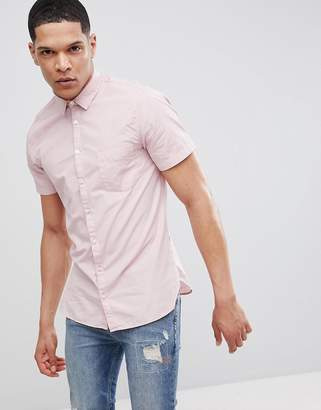 BOSS Slim Fit Short Sleeve Poplin Shirt In Pink