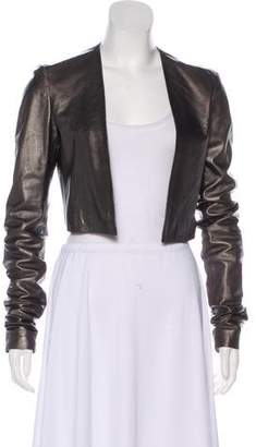 Halston Leather Long Sleeve Bolero