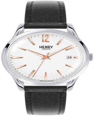 Henry London Highgate Unisex 39mm Black Leather Strap Watch with Stainless Steel Silver Casing