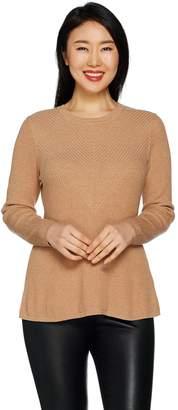 Halston H By H by Crewneck Directional Rib Peplum Sweater