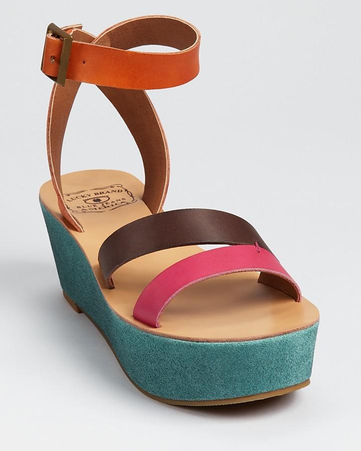 Lucky Brand Sandals - Garnet Color Block Flatform