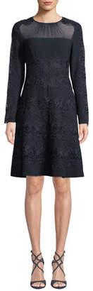 Elie Tahari Cora Shirred Jewel-Neck Long-Sleeve A-Line Crepe Dress w/ Floral-Guipure