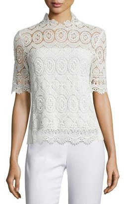 Elie Tahari Carolyn Half-Sleeve Lace Blouse, Antique $328 thestylecure.com