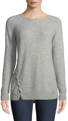 Neiman Marcus Cashmere Long-Sleeve Crewneck Sweater w/ Lace-Up Detail