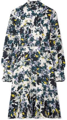 Erdem Bernette Button-detailed Floral-print Silk Crepe De Chine Dress - Blue