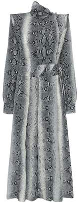 Alessandra Rich Python Print Silk Dress
