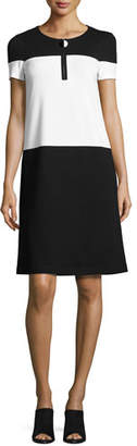 Lafayette 148 New York Short-Sleeve Colorblock Shift Dress, Black/White