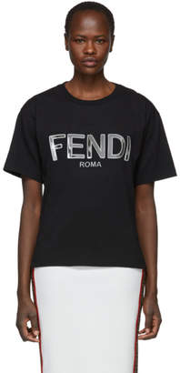 Fendi (フェンディ) - Fendi ブラック メタリック ロゴ T シャツ