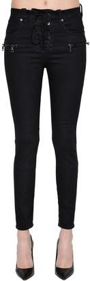 Unravel Skinny Lace-Up Cotton Denim Jeans