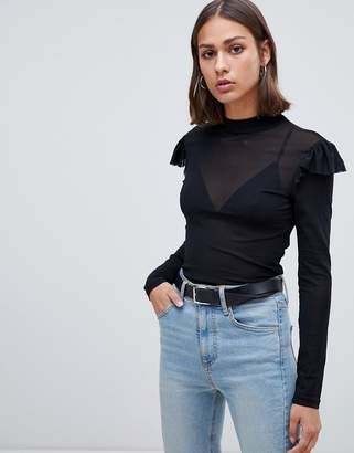 Minimum Moves By sheer long sleeve top with shoulder detail
