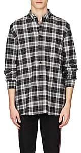 Givenchy Men's Embroidered Plaid Cashmere-Blend Flannel Shirt - Black