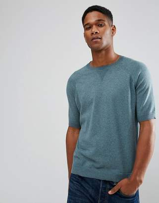 Asos Relaxed Fit Short Sleeve Jumper In Dusty Teal