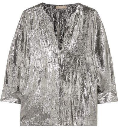 Michael Kors Collection - Crushed Silk-blend Lamé Blouse - Silver