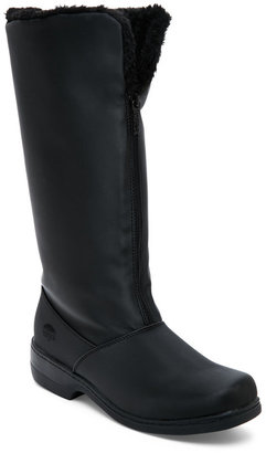 totes Black Cynthia Faux Fur-Lined Snow Boots $75 thestylecure.com