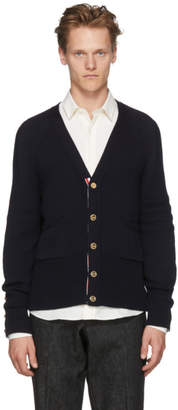 Thom Browne Navy Button Back V-Neck Cardigan