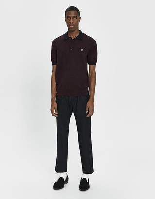 Fred Perry Contrast Trim Knitted Polo Shirt in Mahogany Twist