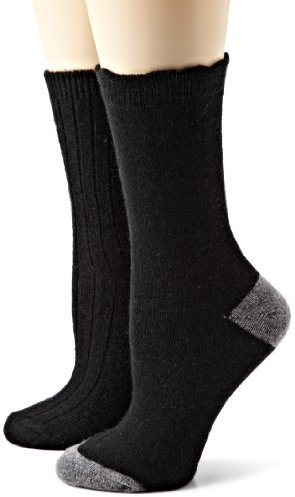 Anne Klein Women's 2-Pack Rib and Solid Cashmere Gift Set Socks