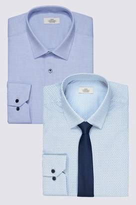 Mens Blue Print And Texture Slim Fit Shirts Two Pack With Tie